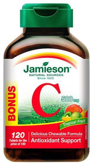 Jamieson Vitamina C 500mg tropical 100 comprimidos masticables