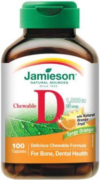 Jamieson Vitamina D 1000ui 25mg 100 comprimidos masticables