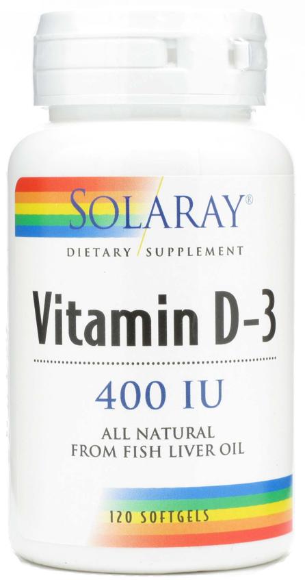 Solaray Vitamina D3 400UI 120 cápsulas