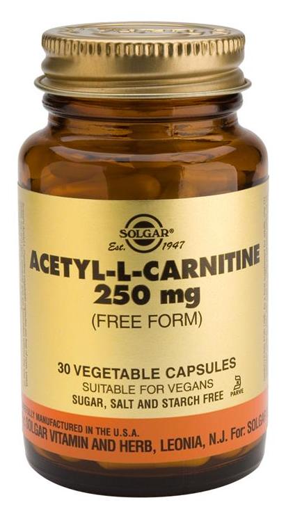 Solgar Acetil L-Carnitina 250 mg 30 cápsulas