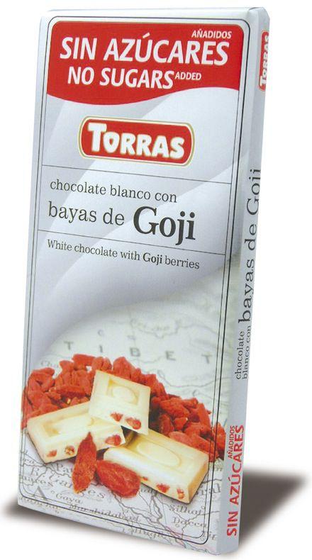 Torras Chocolate Blanco-Bayas de Goji Sin Azúcar 75g