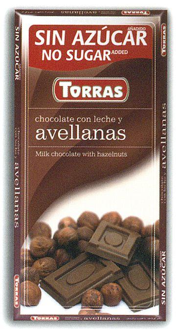 Torras Chocolate con Leche Avellanas Sin Azúcar 75g