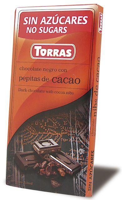 Torras Chocolate Negro Con Pepitas de Cacao Sin Azúcar 75g